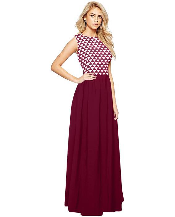 Barby Maroon Designer Gown Zyla Fashion
