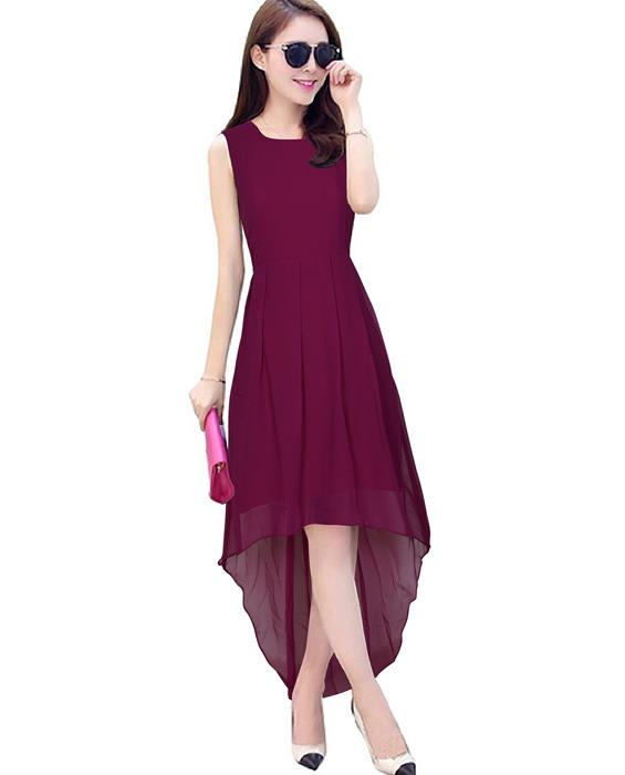 Burger Maroon Designer Dress Zyla Fashion