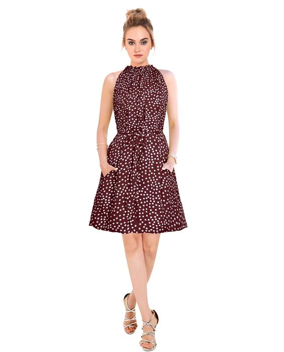 Cruze Designer Saddle Brown Dress Zyla Fashion