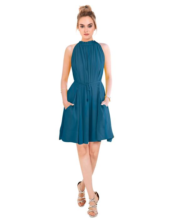 Cruze Designer Steel Blue Dress Zyla Fashion