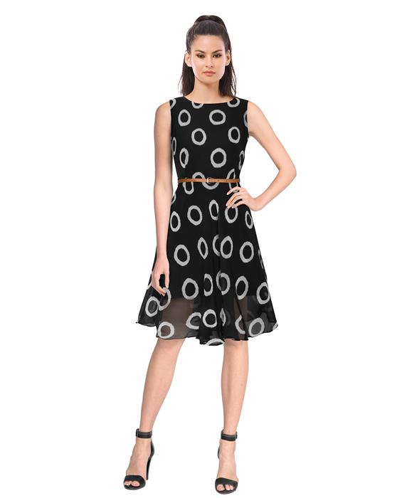 Designer  Black Ring Dress Zyla Fashion
