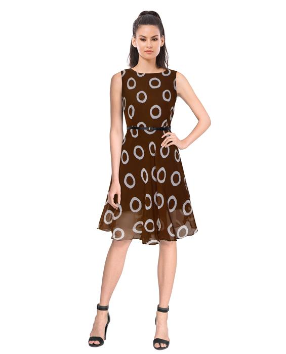 Designer Coffee Ring Dress Zyla Fashion