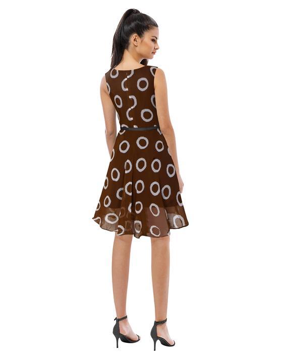 Designer Coffee Ring Dress Zyla Fashion