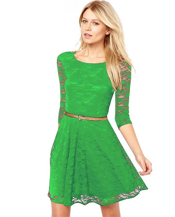 Designer Rich Green Dress Zyla Fashion