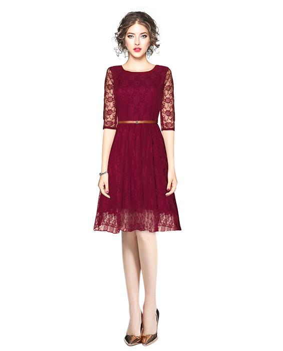Designer Rich Maroon Dress Zyla Fashion