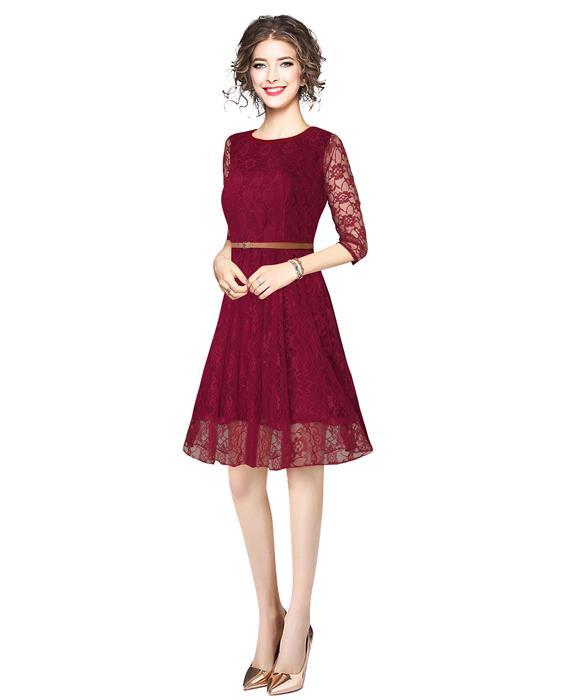 Designer Rich Maroon Dress Zyla Fashion