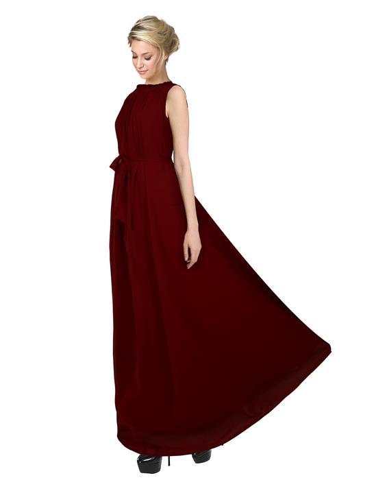Dyna Maroon Designer Gown Zyla Fashion