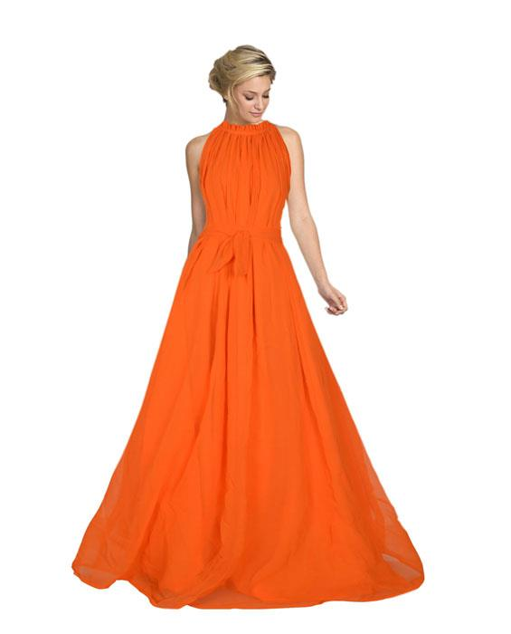 Dyna Orange Designer Gown Zyla Fashion