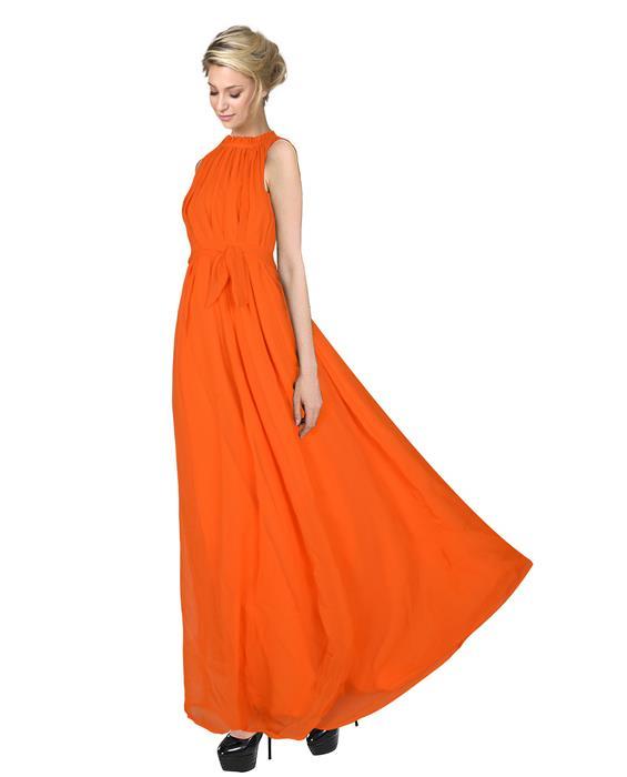 Dyna Orange Designer Gown Zyla Fashion