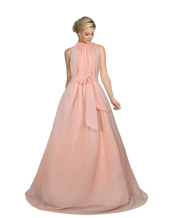 Dyna Peach Designer Gown Zyla Fashion