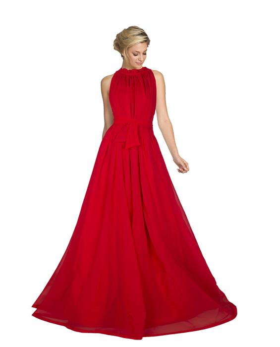 Dyna Red Designer Gown Zyla Fashion