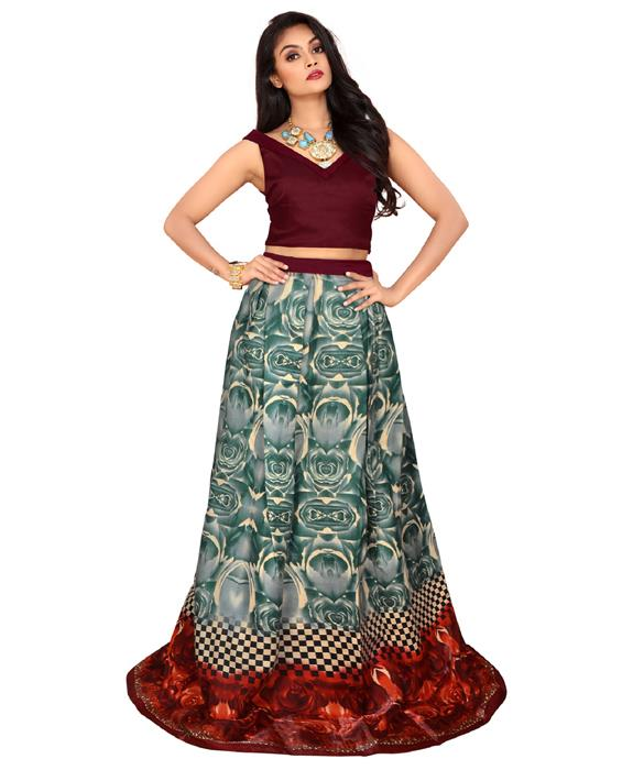 Exclusive Designer Rudra Maroon  Lahenga Zyla