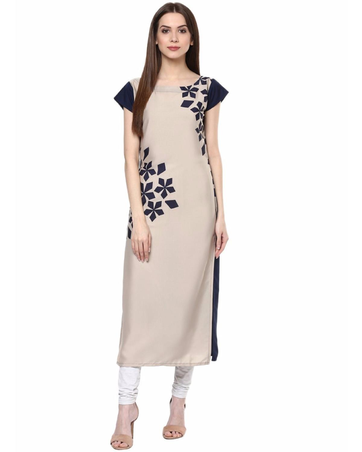 Festive and Party Printed Beige Kurti