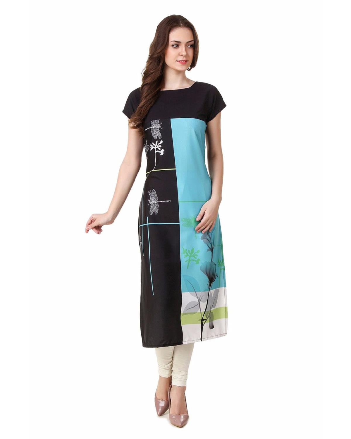 Festive and Party Printed Black Kurti