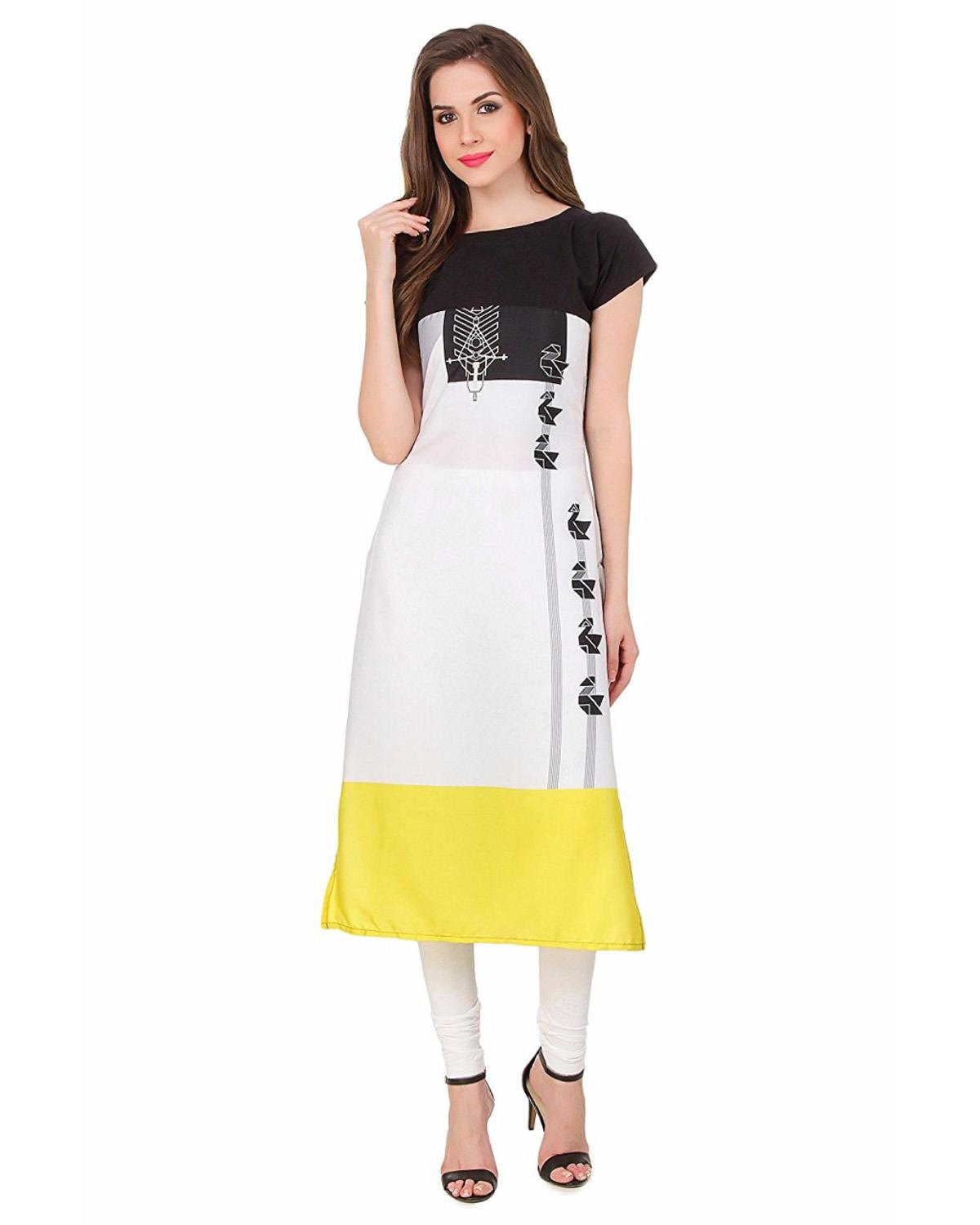 Festive and Party Printed Ghost White Kurti