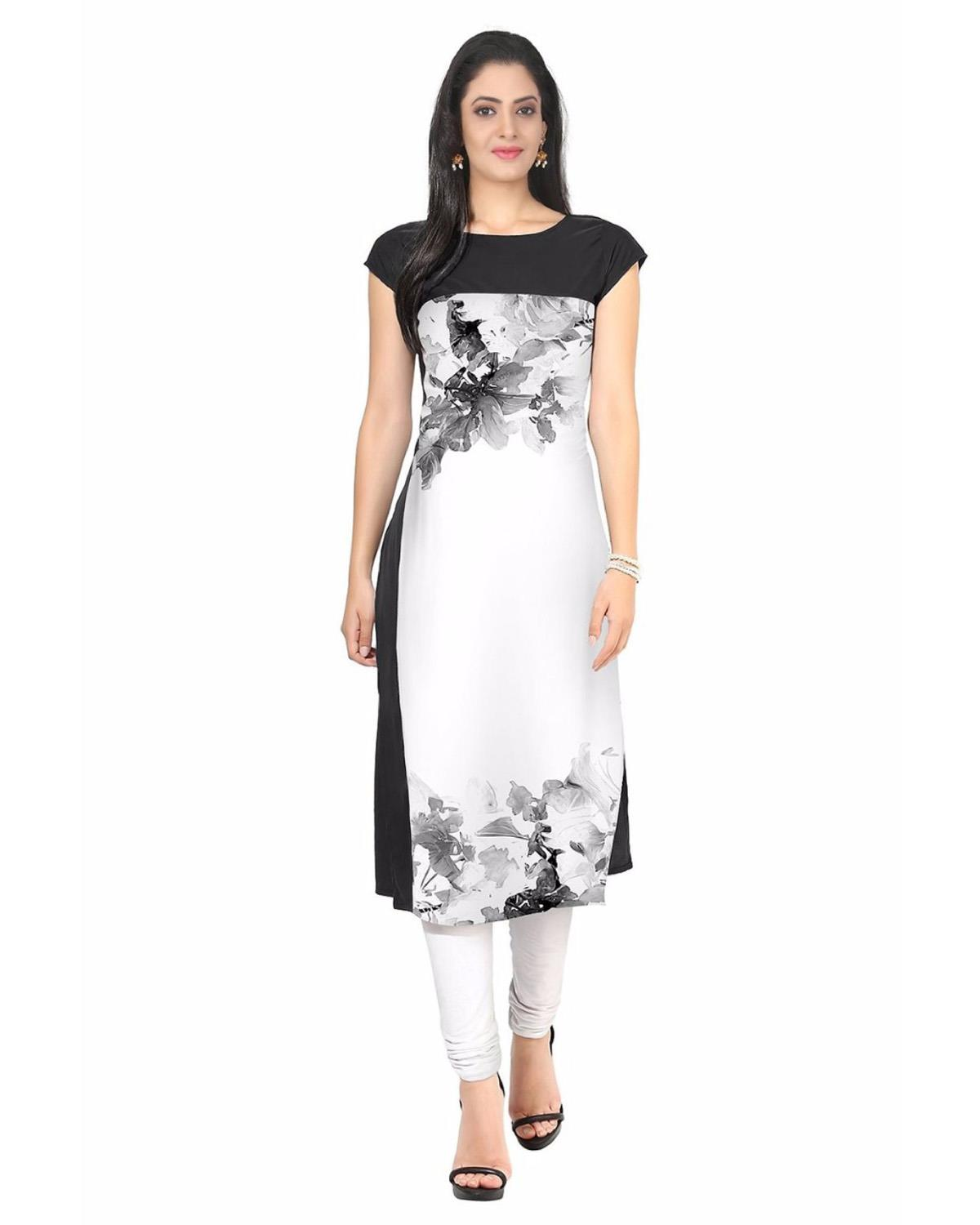 Festive and Party Printed White Smoke Kurti