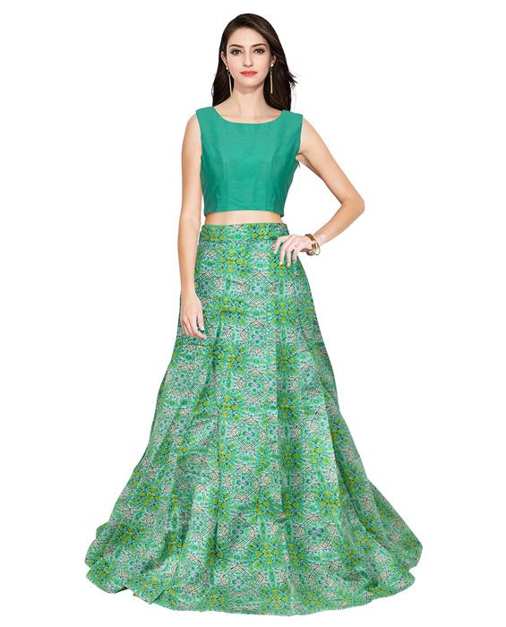 Fire Green Designer Lehenga Zyla Fashion