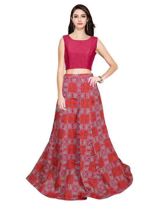 Fire Pink Designer Lahenga Zyla Fashion