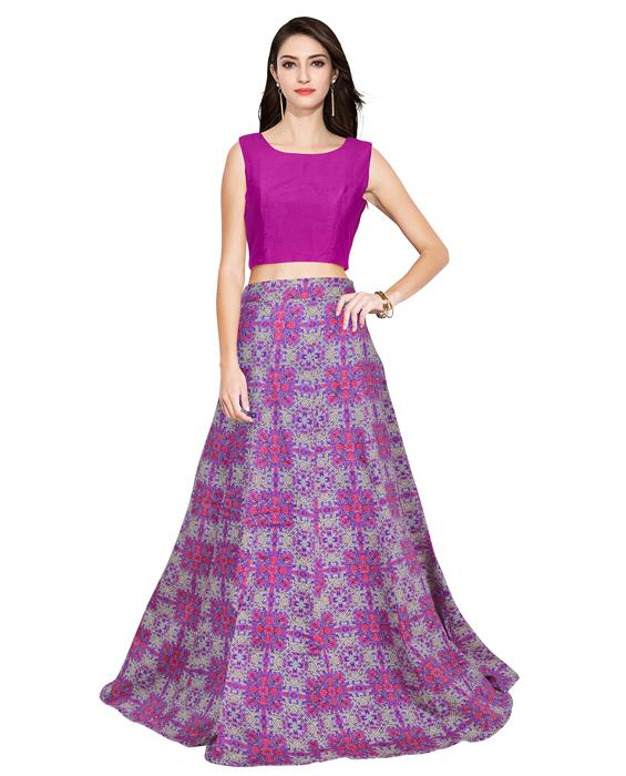 Fire Purple Designer Lahenga Zyla Fashion