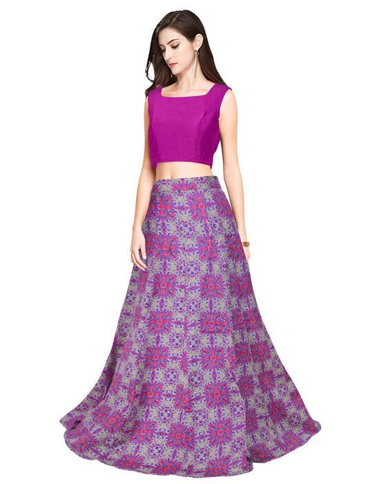 Fire Purple Designer Lahenga Zyla Fashion