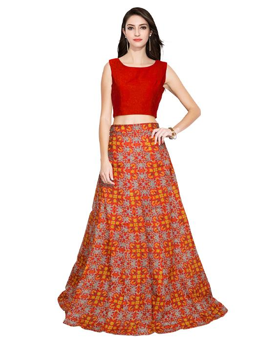 Fire Red Designer Lehenga Zyla Fashion