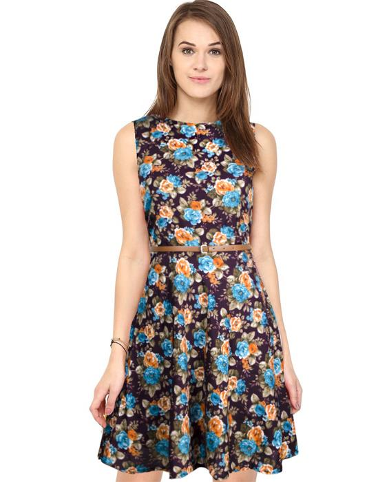 Floral Wine Bollywood Designer Dress Zyla