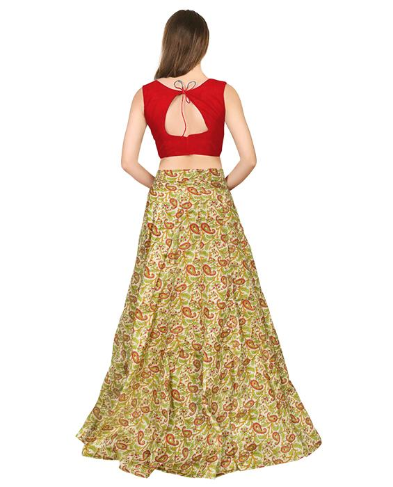 Garden Red Designer Lahenga Zyla Fashion