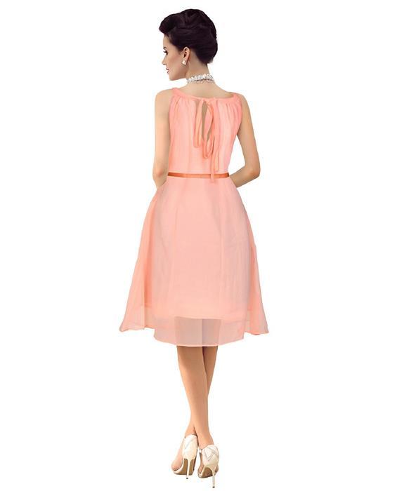 Isha Designer Bollywood Peach Puff Dress