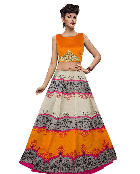 Jyoti Orange Designer Lahenga Zyla Fashion