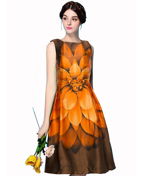Liza Exclusive Bollywood Orange Dress Zyla