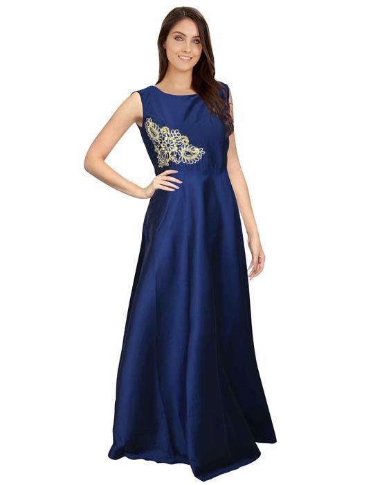Paris Blue Designer Gown Zyla Fashion