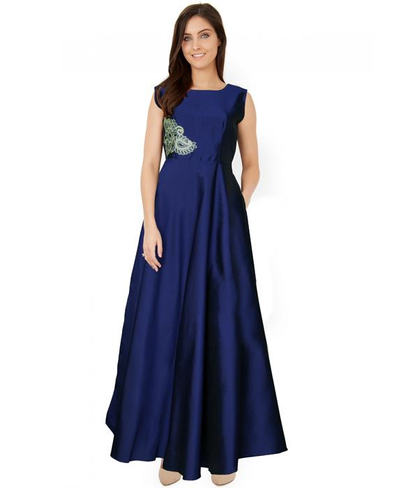 Paris Blue Designer Gown Zyla Fashion