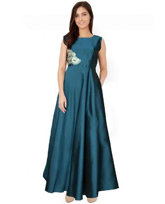 Paris Green Designer Gown Zyla Fashion