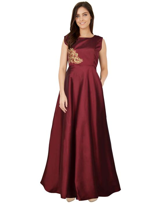 Paris Maroon Designer Gown Zyla Fashion