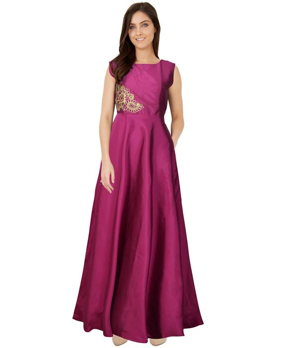 Paris Medium Violet Red Designer Gown Zyla Fashion