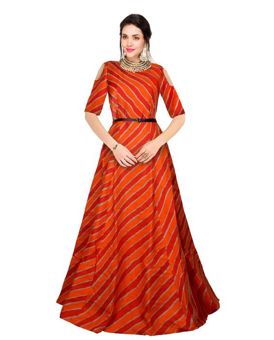 Prince Orange Designer Gown Zyla Fashion