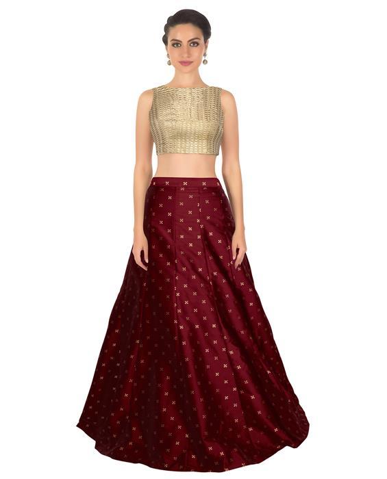 Rubi Maroon Designer Lahenga Zyla Fashion