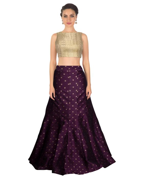 Rubi Purple Designer Lahenga Zyla Fashion