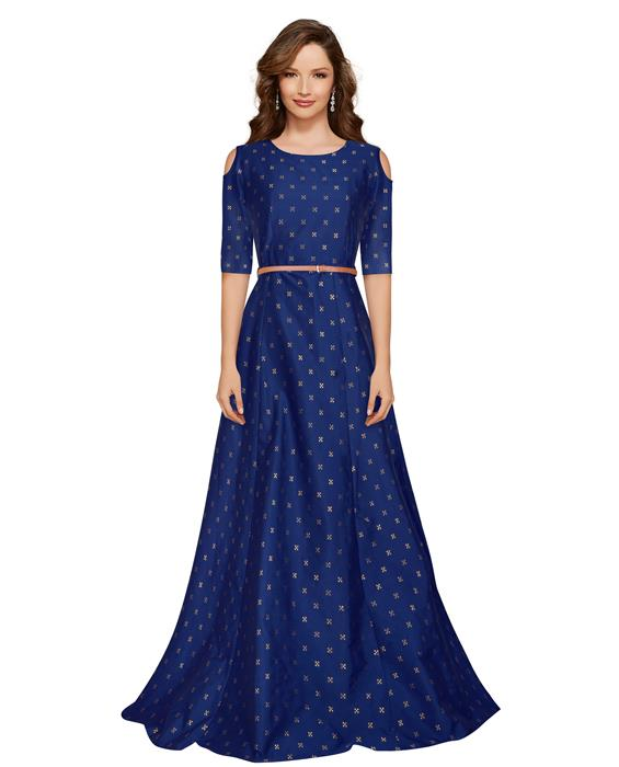 Sofiya Blue Designer Gown Zyla Fashion