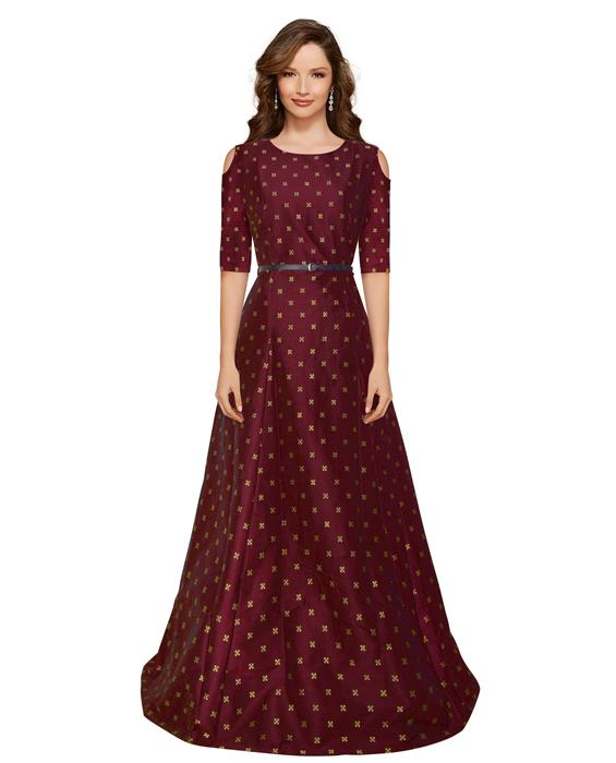 Sofiya Maroon Designer Gown Zyla Fashion