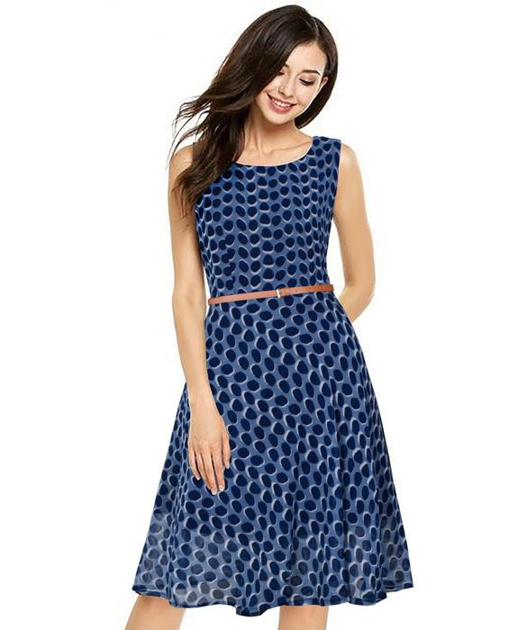 Strawberry Designer Blue Dress Zyla Fashion