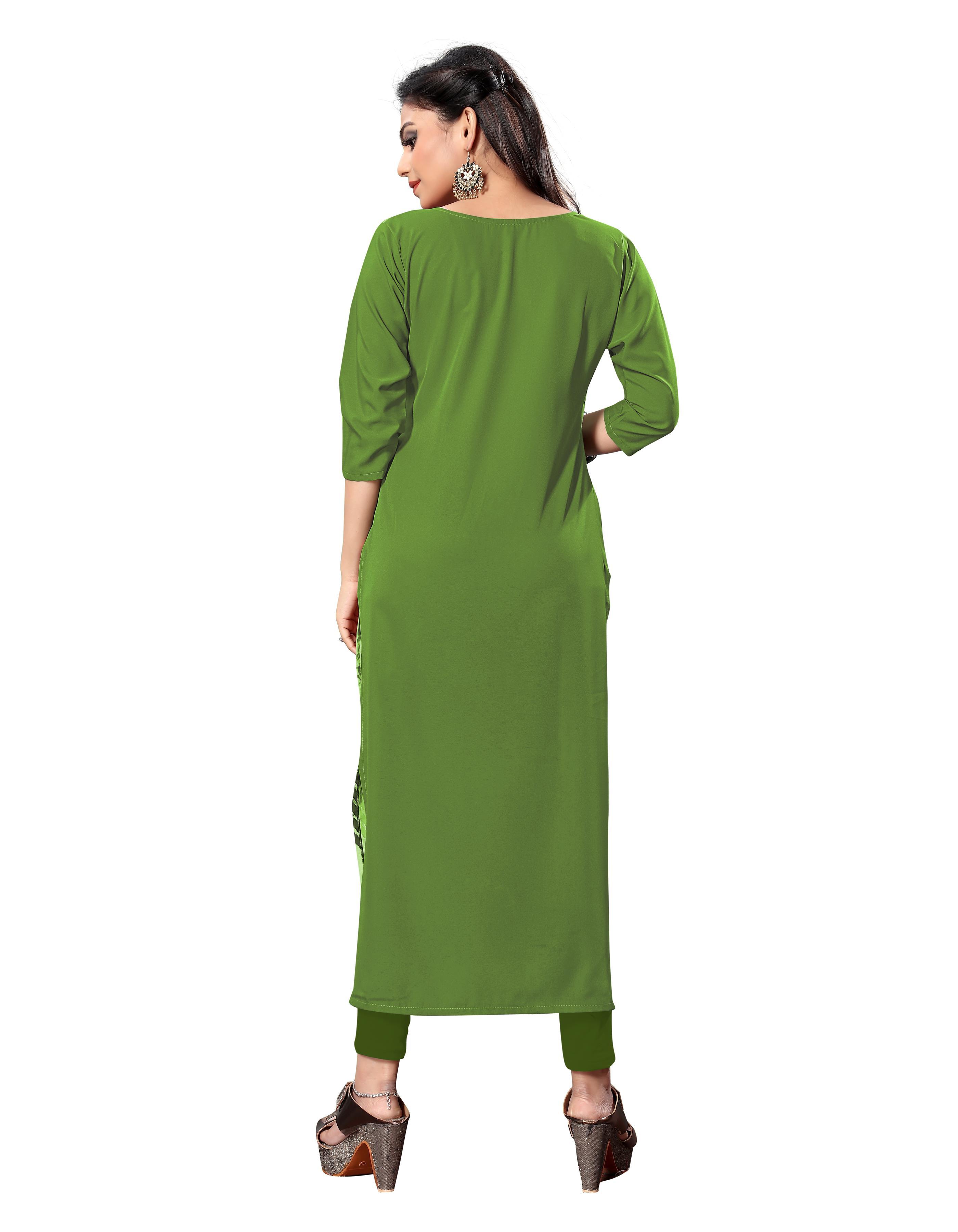 Urban Designer Green Crepe Women Kurti
