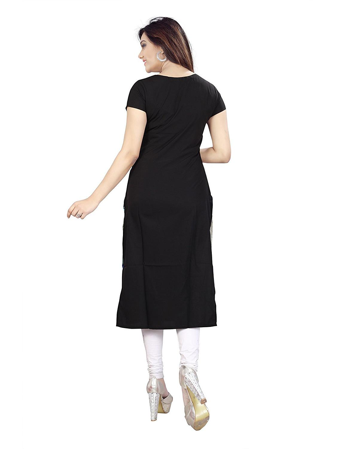 Urban India Black Crepe Straight Women Kurti