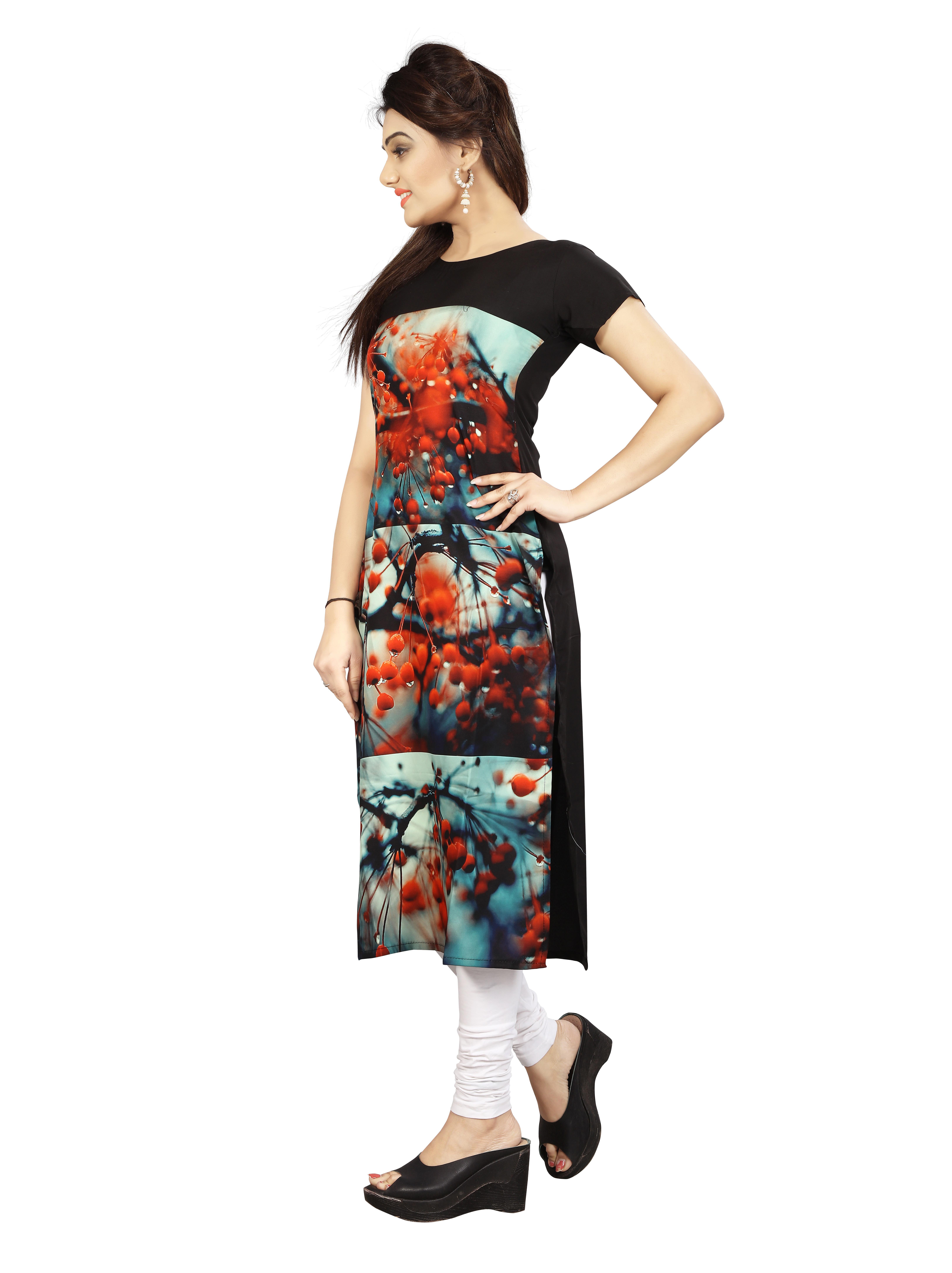 Urban India Crimson Crepe Straight Women Kurti