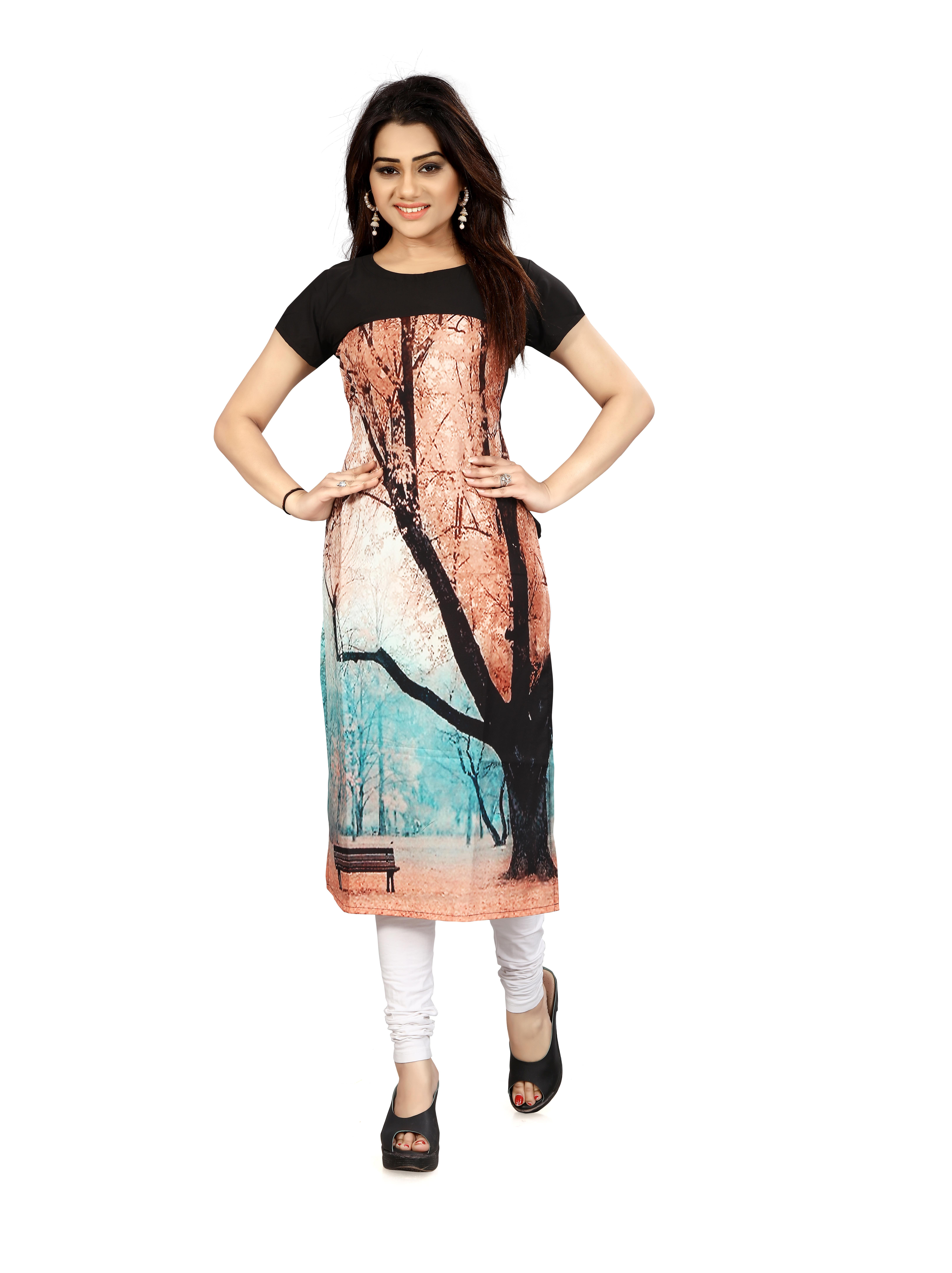 Urban India Light Salmon Crepe Straight Kurti