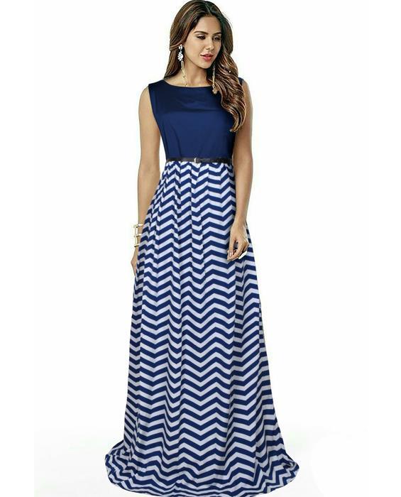 Zigzag Blue Designer Gown Zyla Fashion