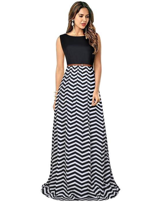 Zigzag Designer Black Gown Zyla Fashion