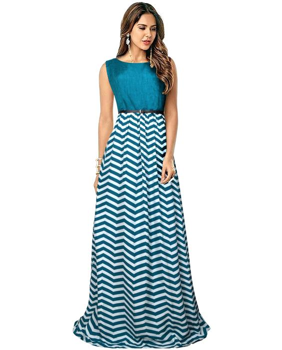 Zigzag Green Designer Gown Zyla Fashion