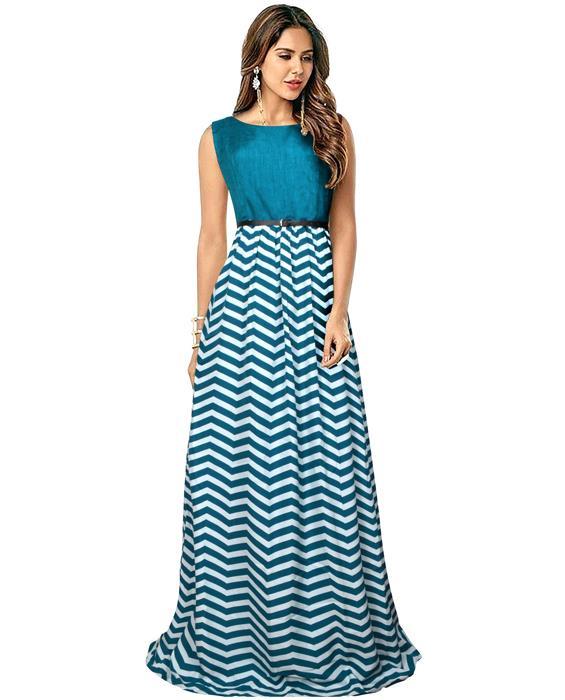 Zigzag Green Designer Gown Zyla Fashion