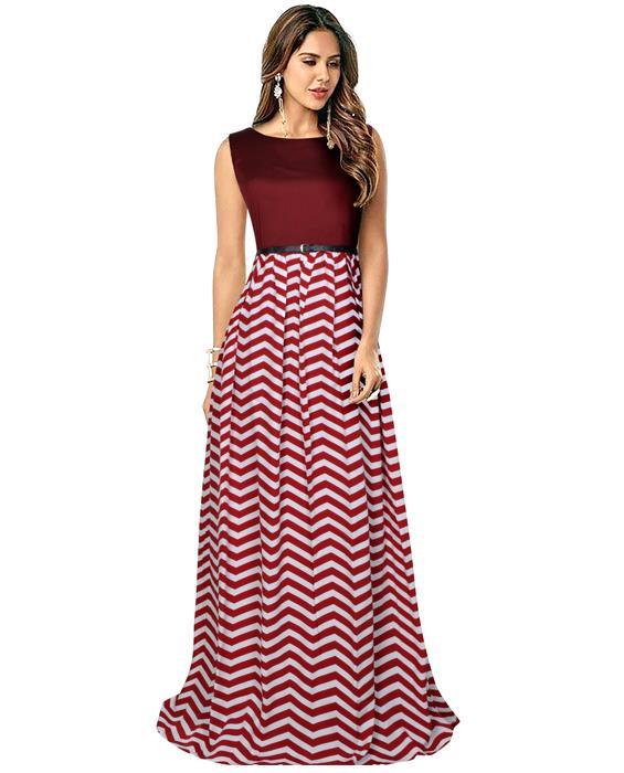 Zigzag Maroon Designer Gown Zyla Fashion